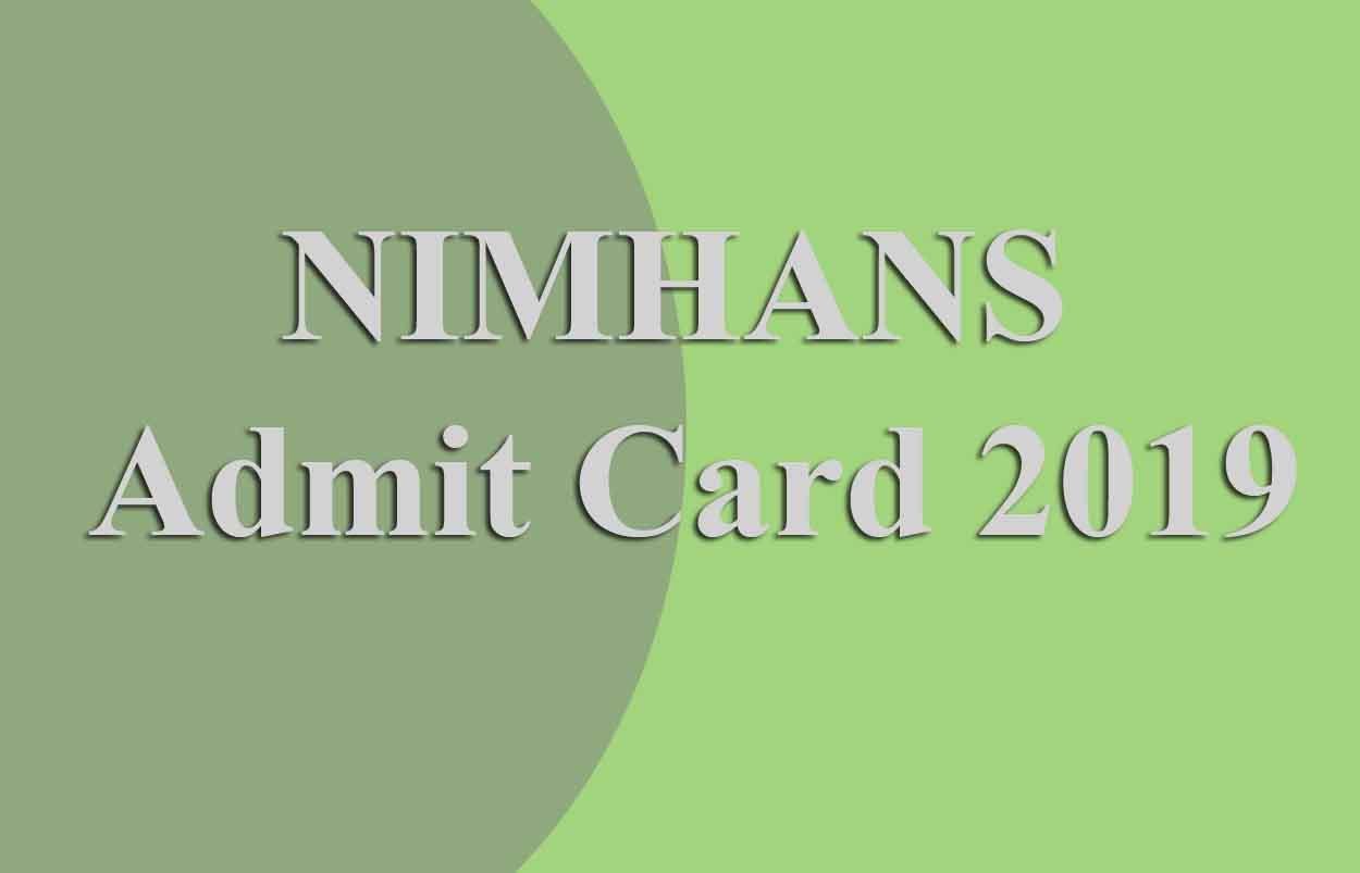 NIMHANS Nursing Officer Admit Card