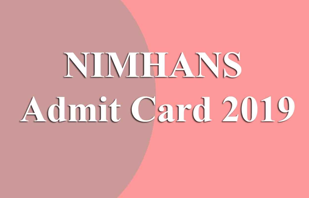 NIMHANS Staff Nurse Admit Card