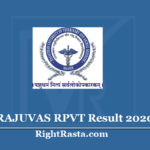 RAJUVAS RPVT Result 2020 Out, Download Rajasthan Pre Veterinary Test Marks
