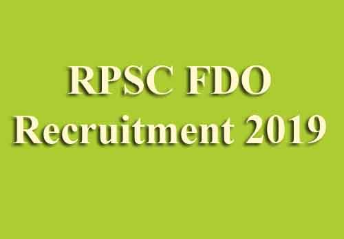 RPSC FDO Recruitment 2019
