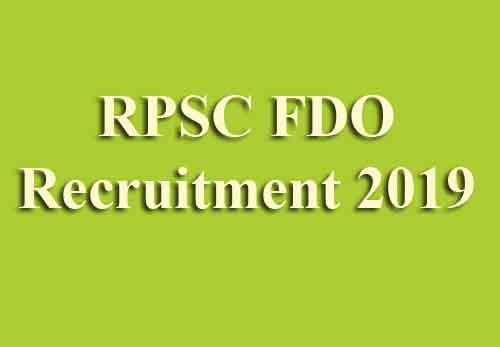 RPSC FDO Recruitment 2019