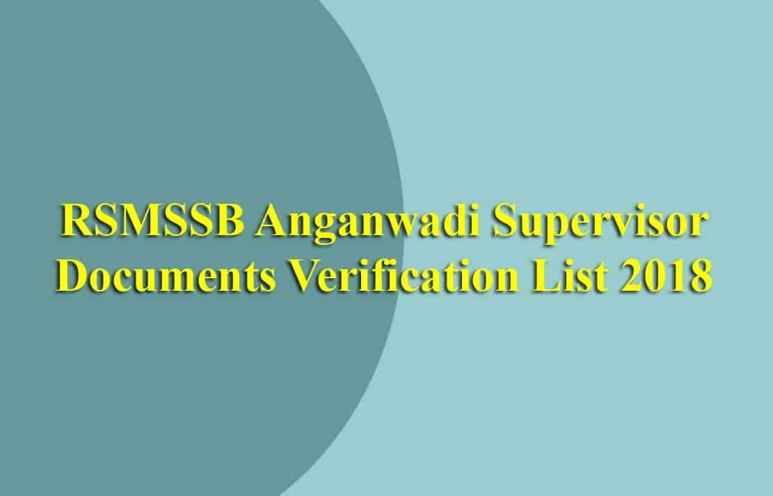 RSMSSB Anganwadi Supervisor Documents Verification List
