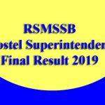 RSMSSB Hostel Superintendent Final Result 2019
