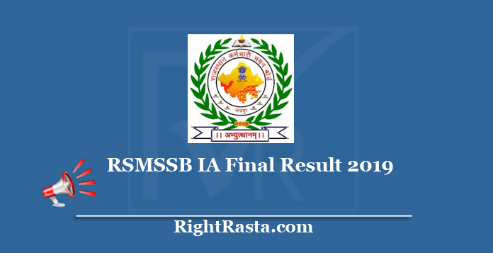 RSMSSB IA Final Result 2019