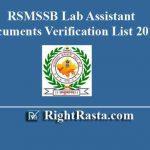 RSMSSB Lab Assistant Documents Verification List 2019