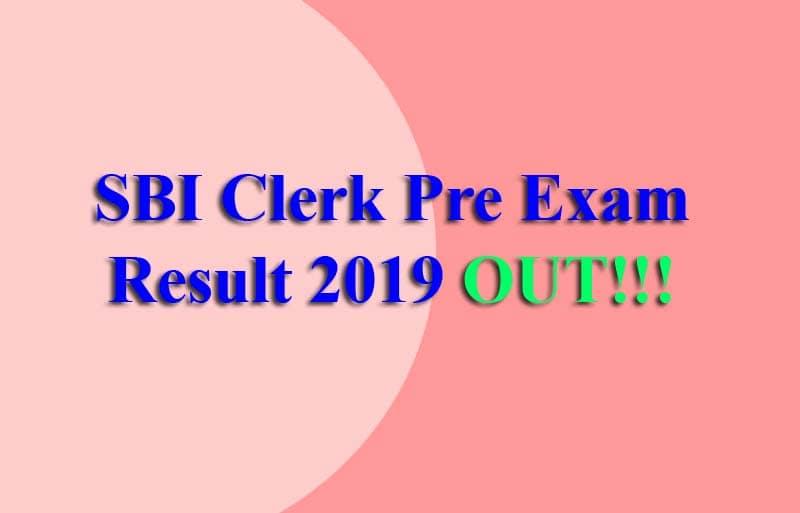 SBI Clerk Pre Exam Result