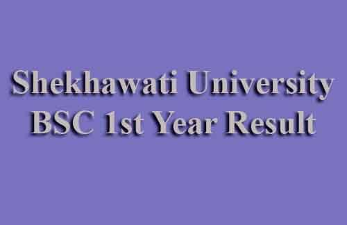 Shekhawati University BSC 1st Year Result 2019