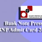 Bank Note Press BNP Admit Card 2019