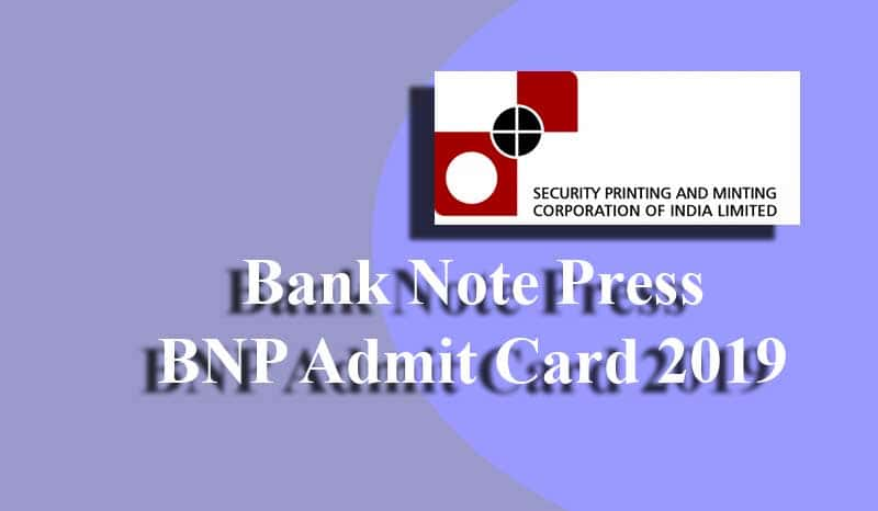 Bank Note Press BNP Admit Card