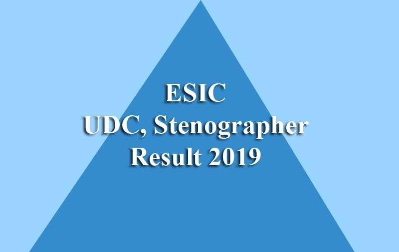 ESIC Stenographer Result
