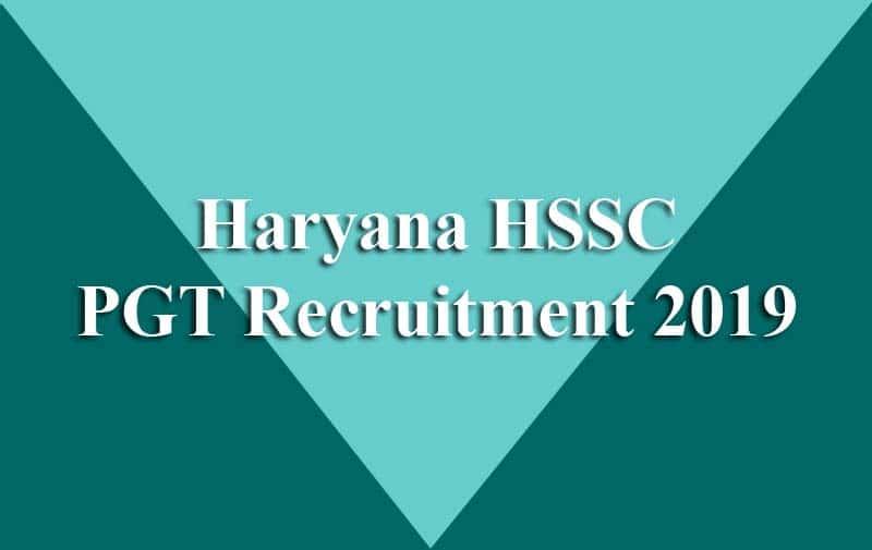 Haryana HSSC PGT Recruitment