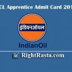 IOCL Apprentice Admit Card 2019 | Download Pipeline Hall Ticket & Exam Date
