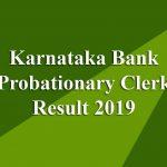 Karnataka Bank Probationary Clerk Result 2019