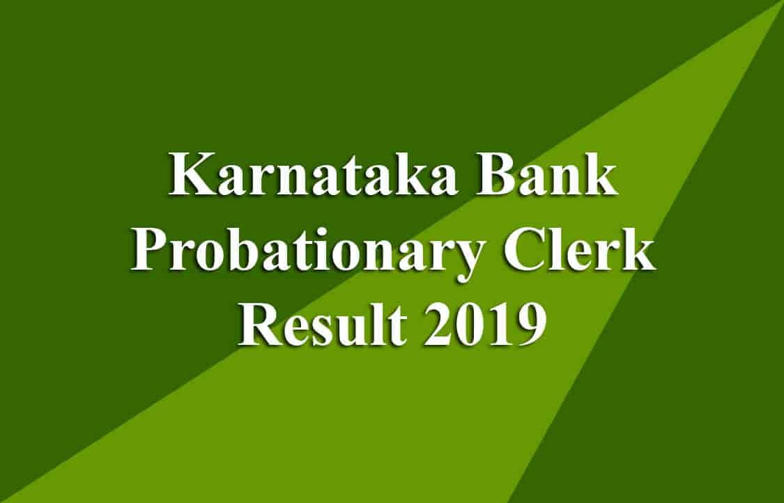 Karnataka Bank Probationary Clerk Result
