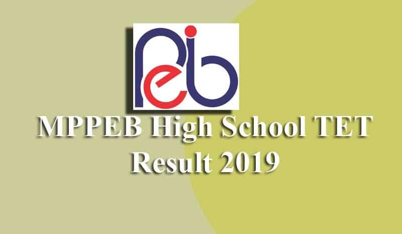 MPPEB High School TET Result 2019