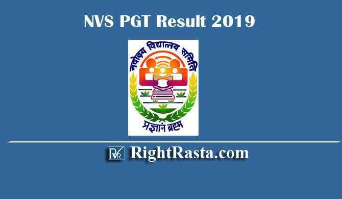 NVS PGT Result 2019