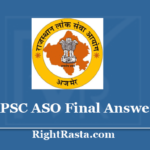 RPSC ASO Final Answer Key 2020 - Download Assistant Statistical Officer Revised Key 2019