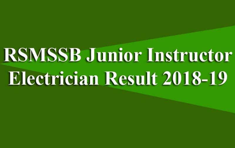 RSMSSB Junior Instructor Electrician Result