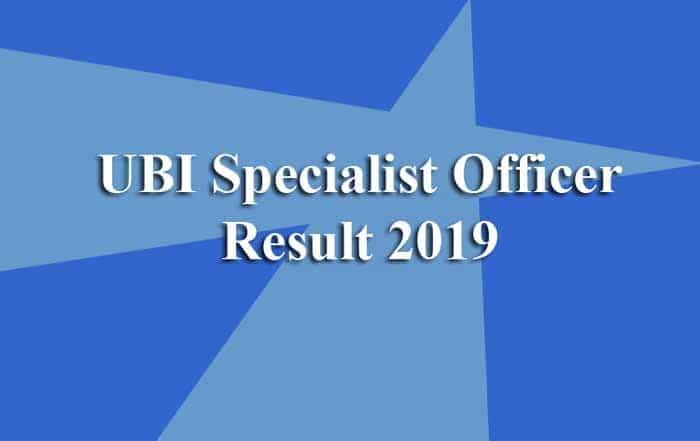 UBI Specialist Officer Result