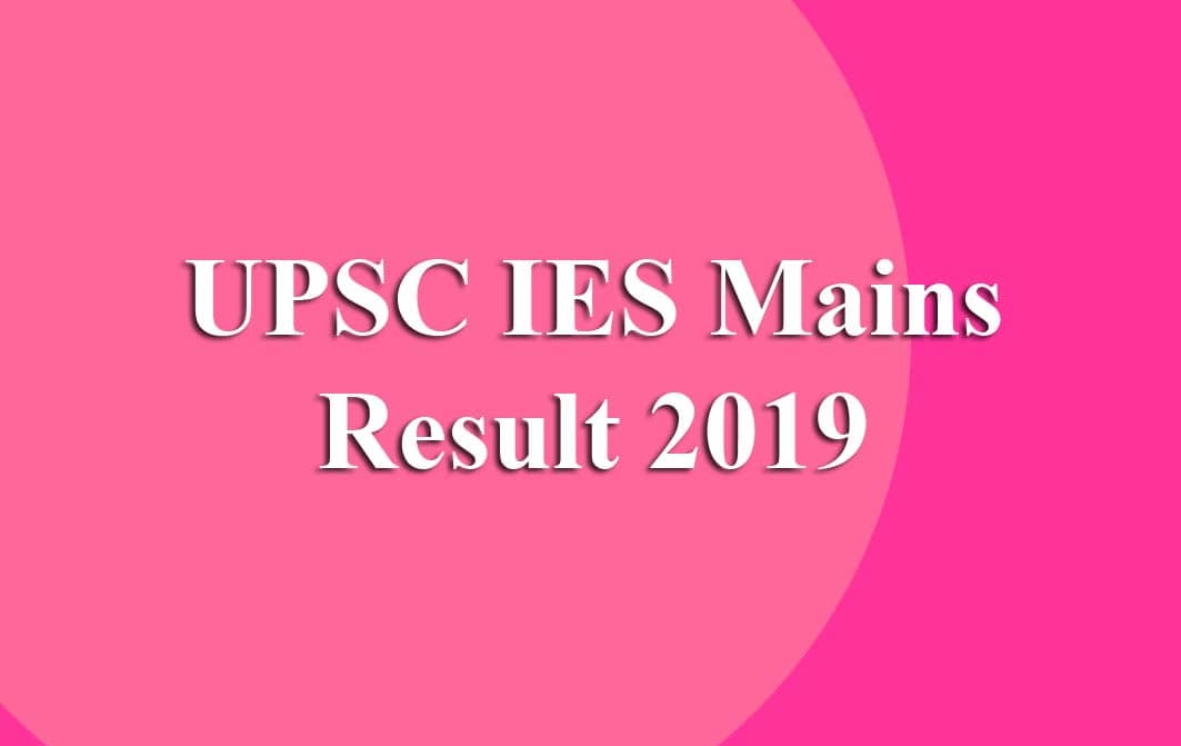UPSC IES Mains Result
