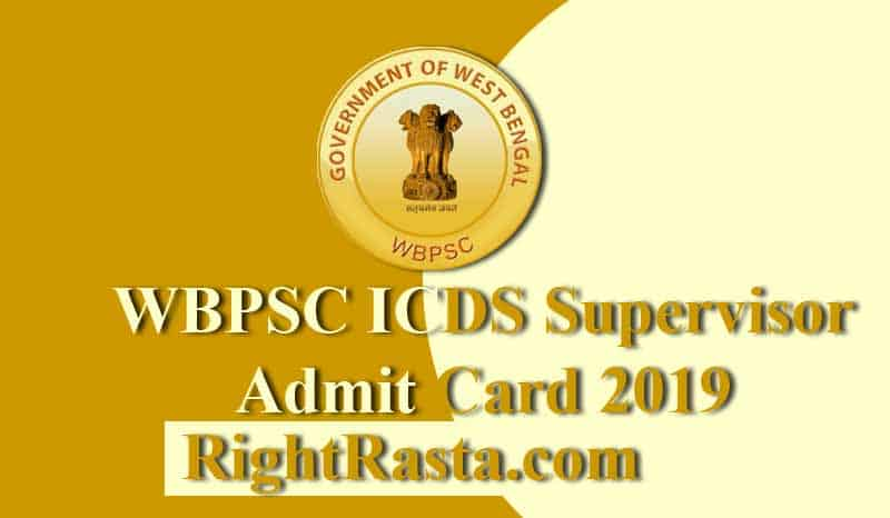 WBPSC ICDS Supervisor Admit Card 2019