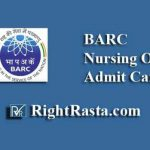 BARC Nursing Officer Admit Card 2019