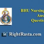 BHU Nursing Officer Answer Key With Question Paper 2019