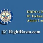 DRDO CEPTAM 09 Technical Admit Card 2019