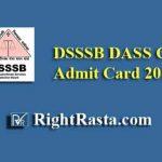 DSSSB DASS Grade 4 Admit Card 2019
