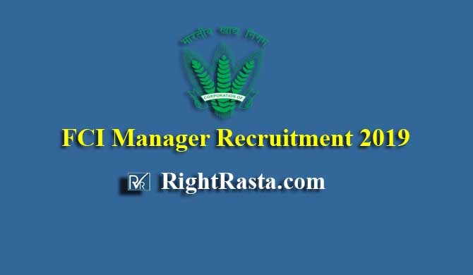 FCI Manager Recruitment 2019