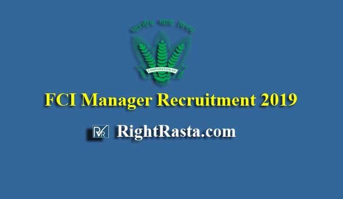 FCI Manager Recruitment 2019