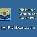 HP Police Constable Written Exam Result 2019