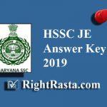 HSSC JE Answer Key 2019