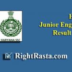 Haryana HSSC Junior Engineer Result 2019