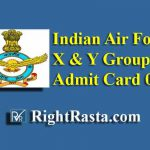 IAF X Y Group Admit Card 02/2020