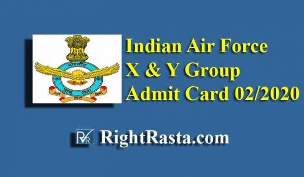 IAF X Y Group Admit Card 02 2020