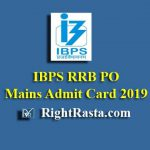IBPS RRB PO Mains Admit Card 2019