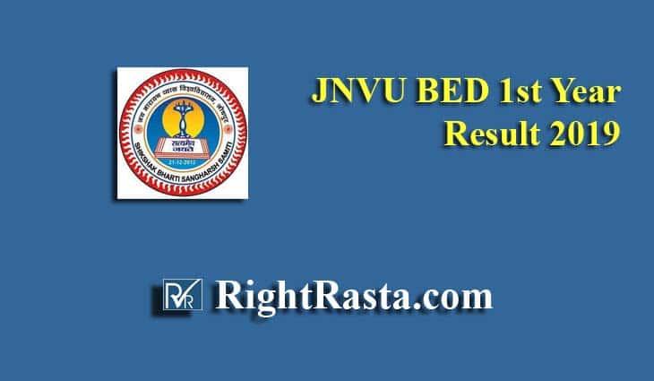 JNVU BED 1st Year Result 2019