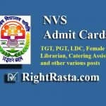 NVS Admit Card 2019 (Released for PGT, TGT, LDC, Staff Nurse, Librarian & Other Posts)
