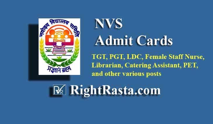 NVS Admit Card 2019
