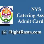 NVS Catering Assistant Admit Card 2019