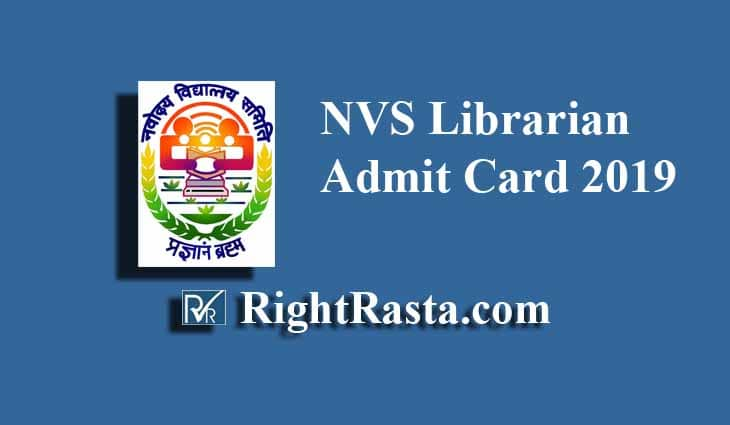 NVS Librarian Admit Card