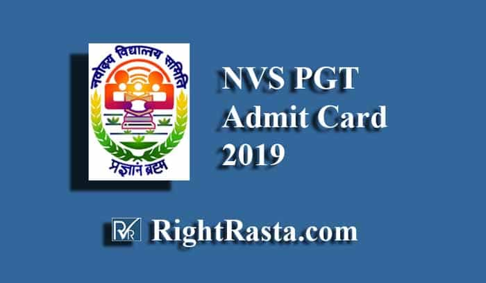 NVS PGT Admit Card