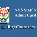 NVS Staff Nurse Admit Card 2019