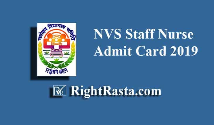 NVS Staff Nurse Admit Card