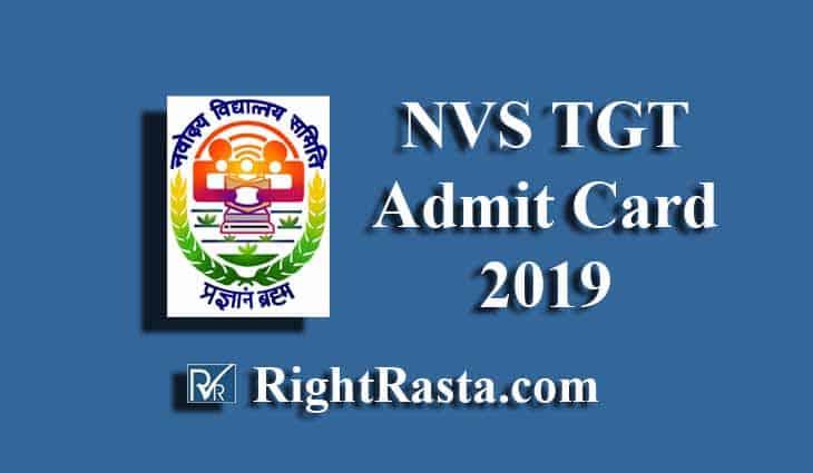 NVS TGT Admit Card