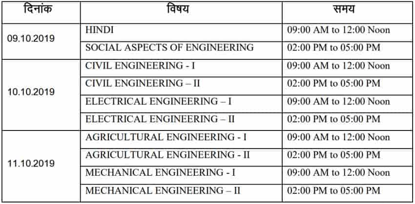 RPSC AEN Mains Exam Dates