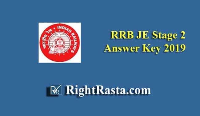RRB JE Stage 2 Answer Key 2019