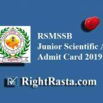 RSMSSB Junior Scientific Assistant Admit Card 2019