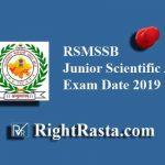 RSMSSB Junior Scientific Assistant Exam Date 2019